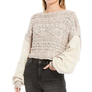 Free People Honey Cable Fleece Sleeve Crop Sweater